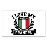 I Love My Italian Grandpa Rectangle Decal