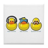 No Evil Ducks Tile Coaster