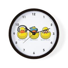 No Evil Ducks Wall Clock