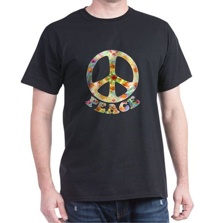 Painted Peace Symbol Dark T-Shirt