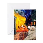 Cafe / Great Pyrenees Greeting Card