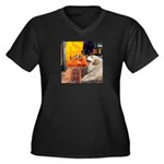 Cafe / Great Pyrenees Women's Plus Size V-Neck Dar