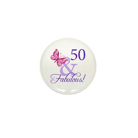 50 And Fabulous Birthday Gifts Mini Button (100 pa