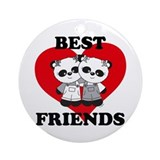 Best Friend Panda Bear Hug Ornament (Round)