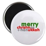 "Merry Christmas and Hanukkah ~ 2.25"" Magnet (10 pa"