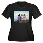 Sisters Women's Plus Size V-Neck Dark T-Shirt