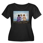 Sisters Women's Plus Size Scoop Neck Dark T-Shirt