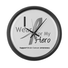 Gray Ribbon Hero Large Wall Clock
