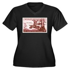 Philately Women's Plus Size V-Neck Dark T-Shirt