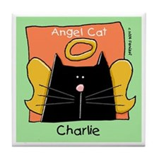 CHARLIE Black Cat Angel Tile Coaster