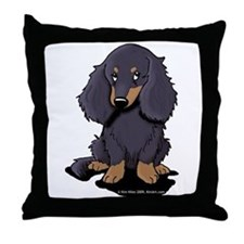 LH Black/Tan Doxie Throw Pillow