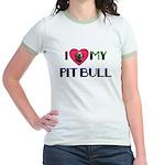 PIT BULL ON BACK ALSO Jr. Ringer T-Shirt