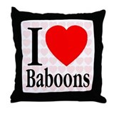 I Love Baboons Throw Pillow
