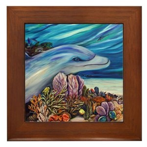 Dolphine and Damsellefish Framed Tile