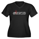 Hairdresser Women's Plus Size V-Neck Dark T-Shirt