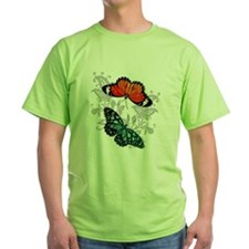 Butterflies Orange and Green T-Shirt
