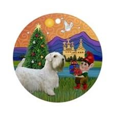 Sealyham Terrier Xmas Fantasy Ornament (Round)