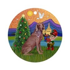 Weimaraner Christmas Fantasy Ornament (Round)