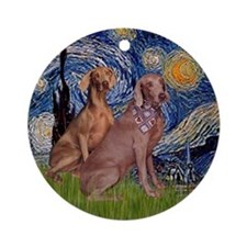 Starry Night & 2 Weimaraners Ornament (Round)