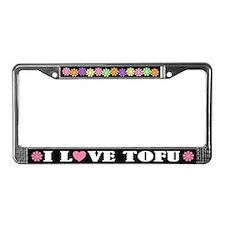 I Love Tofu License Plate Frame