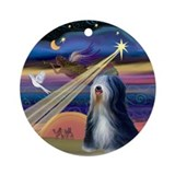 Christmas Star & Tibetan Terrier Ornament (Round)