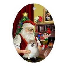 Santa and his Pomeranian Oval Ornament