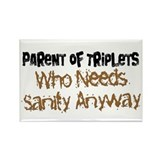 Parent Of Triplets Rectangle Magnet