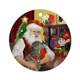 Santa &amp; His Brindle Greyhound Ornament (Round)
