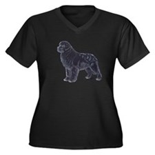 Newfoundland Black Women's Plus Size V-Neck Dark T