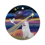 Samoyed &amp; Christmas Star Ornament (Round)