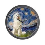 Starry Night / Pyrenees Wall Clock