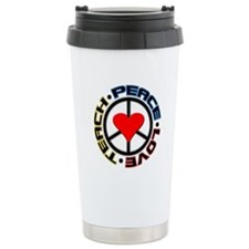 Peace Love Teach Ceramic Travel Mug