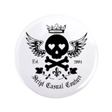 "Skull and Crossbones w/Wings 3.5"" Button"