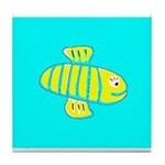 Cute Bee Ceramic Tile Coaster / Trivet (Turquoise)