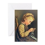 Young Girl Knitting Greeting Cards (Pk of 10)