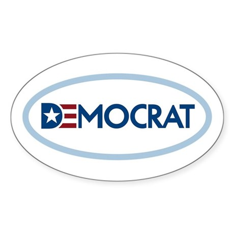 Democrat Oval Sticker (10 pk)