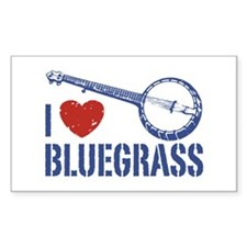 I Love Bluegrass Rectangle Decal