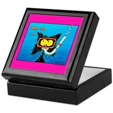 Snorkling cat lover Keepsake Box
