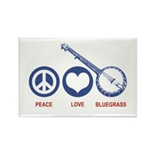 Peace Love Bluegrass Rectangle Magnet