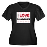 I LOVE PHONOLOGISTS Women's Plus Size V-Neck Dark