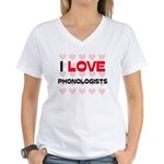 I LOVE PHONOLOGISTS Women's V-Neck T-Shirt