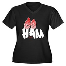 Go HAM Women's Plus Size V-Neck Dark T-Shirt