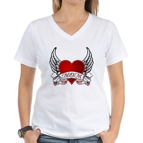 Mom Tattoo Women's V-Neck T-Shirt