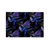 Blue Dragon At Night Rectangle Magnet (100 pack)