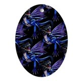 Blue Dragon At Night Oval Ornament