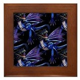 Blue Dragon At Night Framed Tile