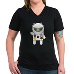 Astronaut Kitty Women's V-Neck Dark T-Shirt