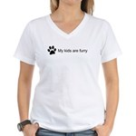 My Kids Are Furry (Cat Paw) V-Neck T-Shirt