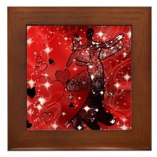 Ballroom Dancers with Hearts Framed Tile