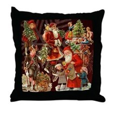 Vintage Christmas Collage Throw Pillow
